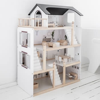 Houten speelgoed - poppenhuizen, keukentjes, garages en meer